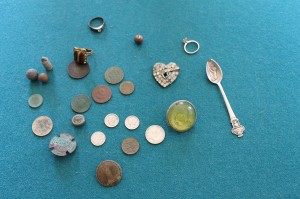 An array of some of the relics Greg has found since he  became a metal detecting enthusiast.