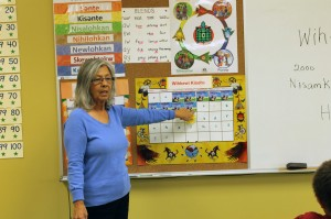 Iris Nicholas teaches the Maliseet language to students at Mah Sos School at Tobique First Nation