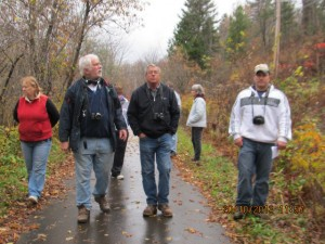 Loretta Gee, Terry Ritchie, Bob Osborne & Joe Gee  explore the trail in Perth-Andover on October 20, 2013