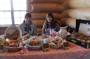 Nick & Jessica Shaw at  the Visitor's Centre  during  the World Pond Hockey  tournament selling Nancy's soaps