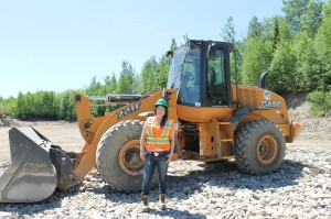 The course has trained Jenna Billings to  operate this front end loader, an excavator, a skid steer, a bull dozer and a back hoe loader
