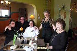 Renee O'Neill, Charles MacFarlane, Barbara Boucher, Shirley Hansen and Brenda Goodine at The 878 Waterfront Bistro in Perth-Andover