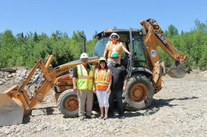 Instructor Rick Moulton, JEDI Representative Erica Hanscombe, TFN Chief Brenda Perley and Shawn Bonnough at the old gravel pit