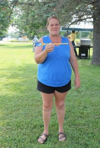 Lori Hartley of Upper Kent won Bragging Rights  & cool spoon for P-A Best Chili 2014