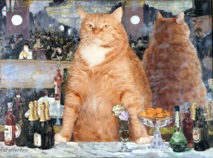 """Check out that bartender's stare…  He's gonna 86 someone for sure! """"A Bar at the Folies-Bergre"""" by Edouard Manet"""