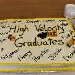 The Graduation Cake was made by Tammy Sappier, who fittingly  decorated the confection with  models of heavy equipment!