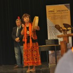 Alex Dedham joins in as Imelda Perley begins the ceremony with  sacred prayer and drumming