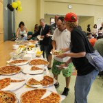 Outback Smokehouse catered the affair. Bobbie Moulton began  making the 30 large pizzas at 7 am