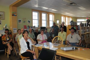 Quite a large group attended the book launch in Perth-Andover. Andrea Bear Nicholas is seated in front